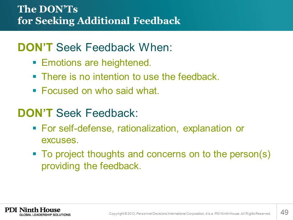 The DON'Ts for Seeking Additional Feedback