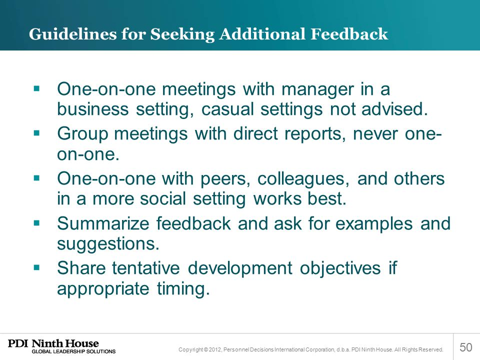 Guidelines for Seeking Additional Feedback