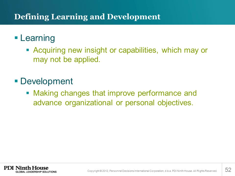 Defining Learning and Development
