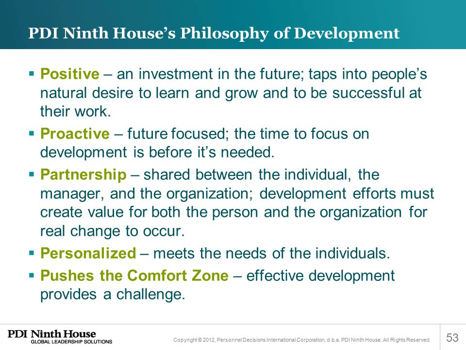 PDI Ninth House's Philosophy of Development