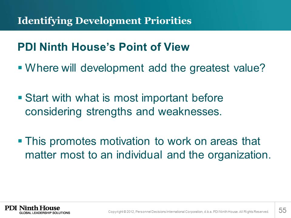 Identifying Development Priorities