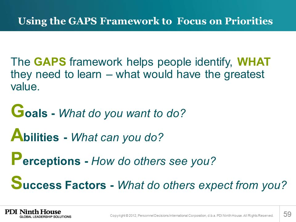 Using the GAPS Framework to Focus on Priorities