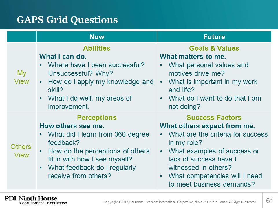 GAPS Grid Questions Now Future My View Abilities What I can do.