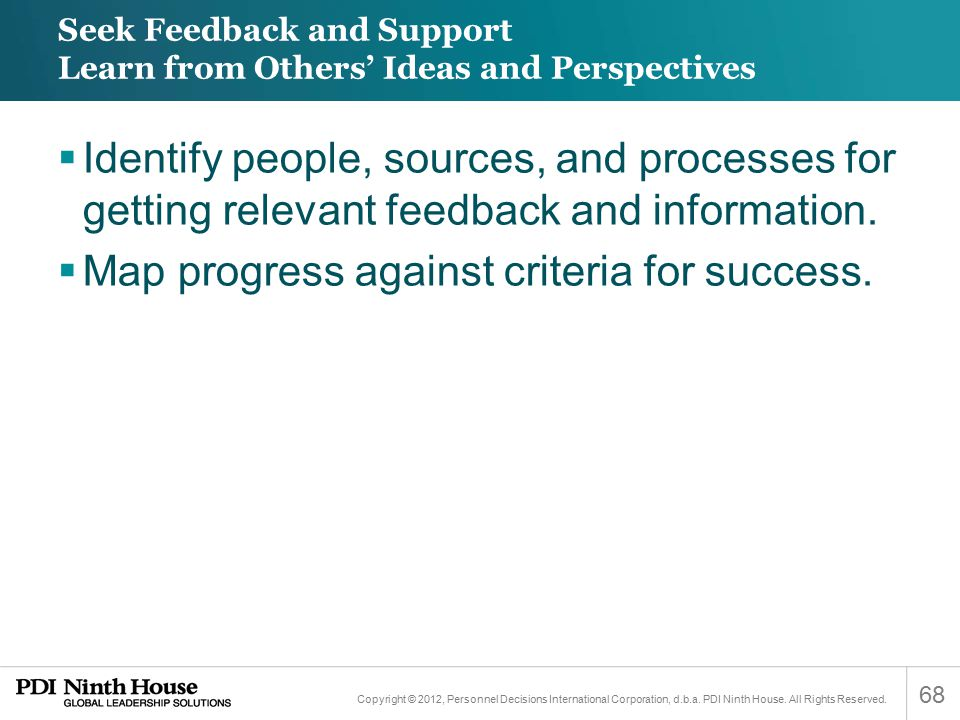 Seek Feedback and Support Learn from Others' Ideas and Perspectives