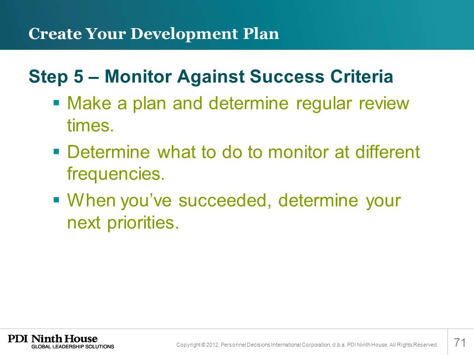 Create Your Development Plan