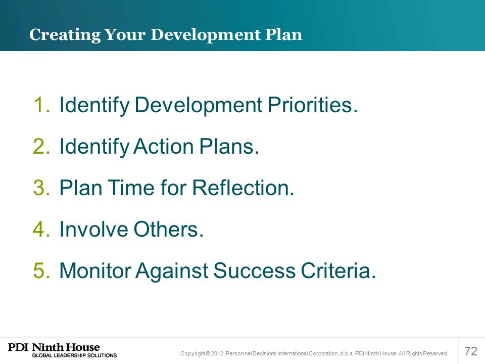 Creating Your Development Plan