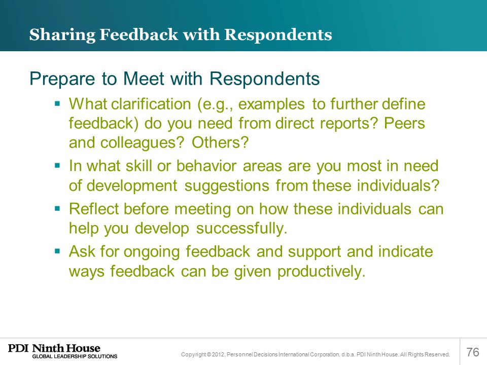 Sharing Feedback with Respondents