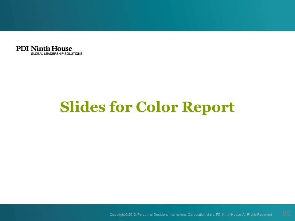 Slides for Color Report