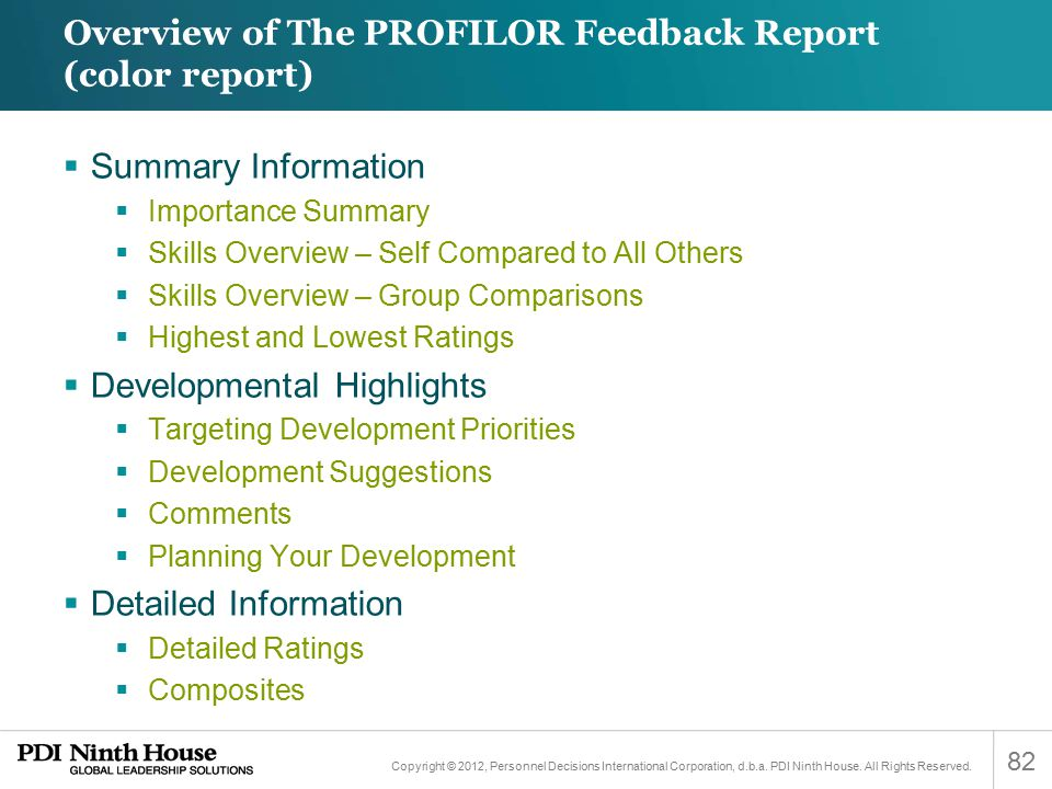 Overview of The PROFILOR Feedback Report (color report)