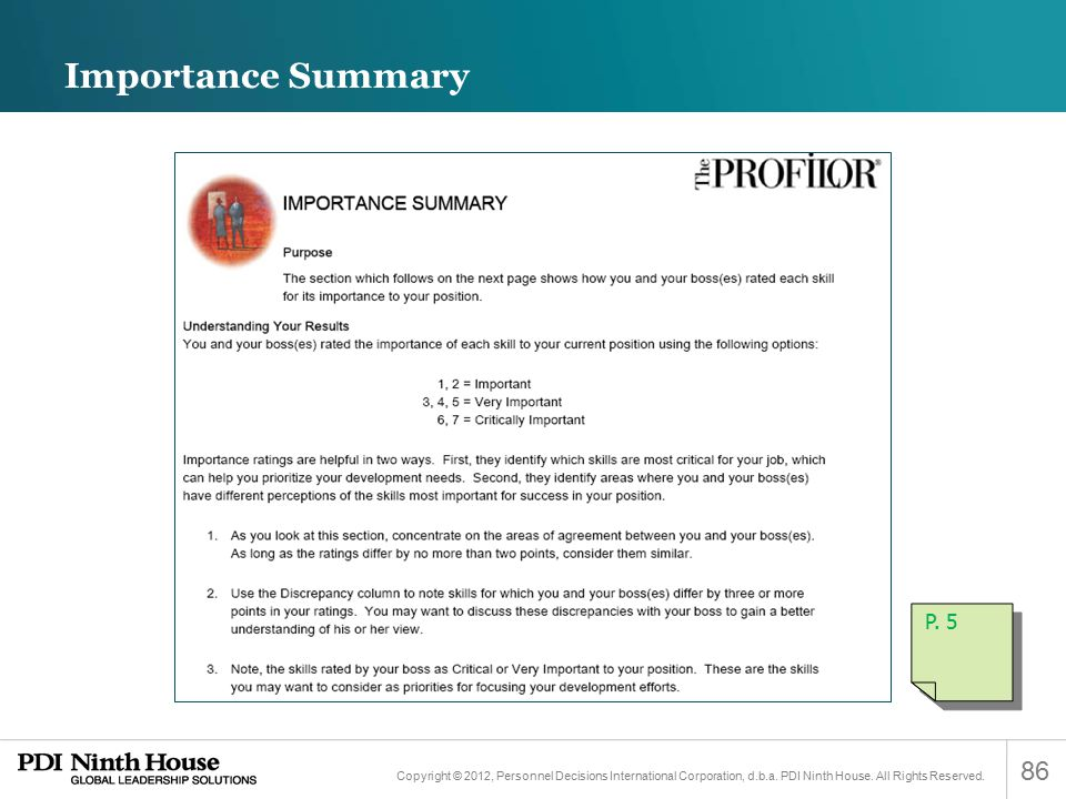 Importance Summary P. 5