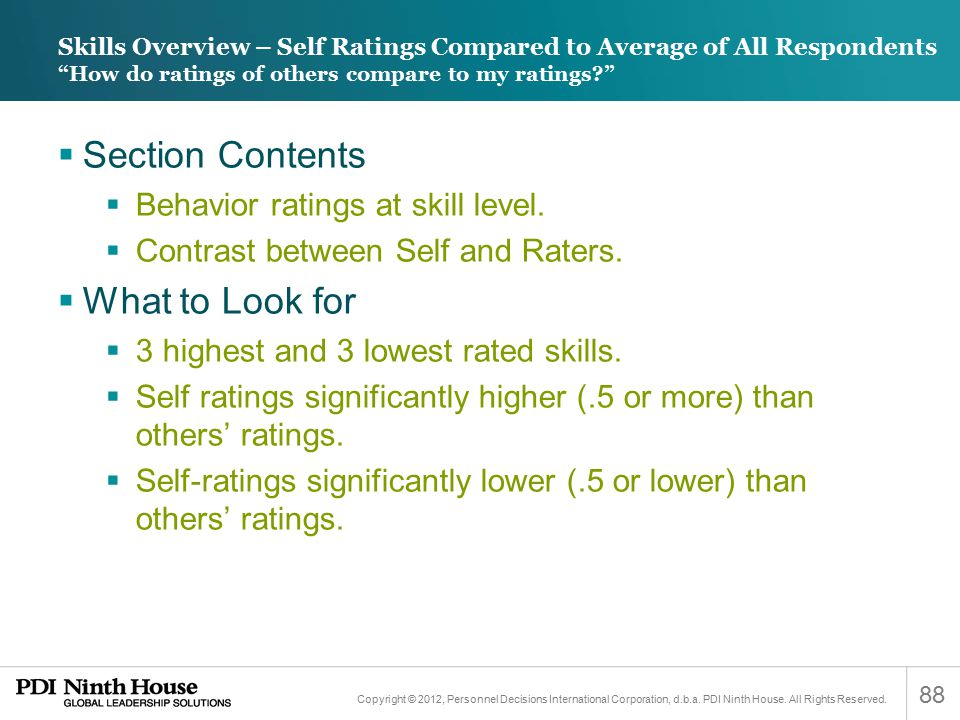 Section Contents What to Look for Behavior ratings at skill level.
