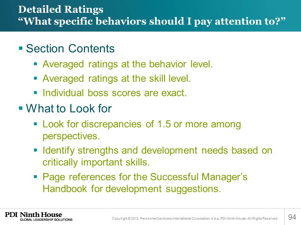Detailed Ratings What specific behaviors should I pay attention to