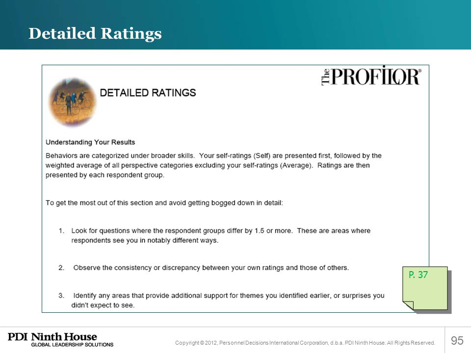 Detailed Ratings P. 37