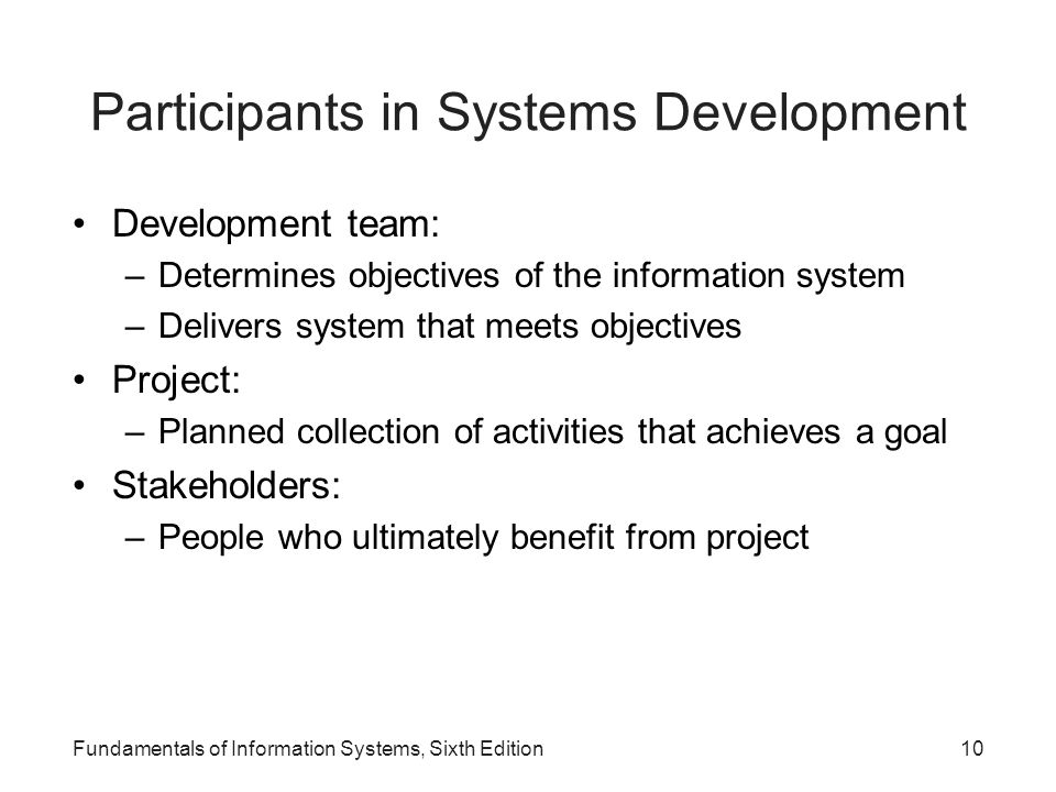 Participants in Systems Development