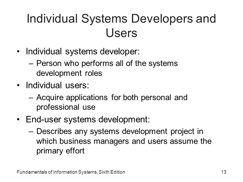 Individual Systems Developers and Users