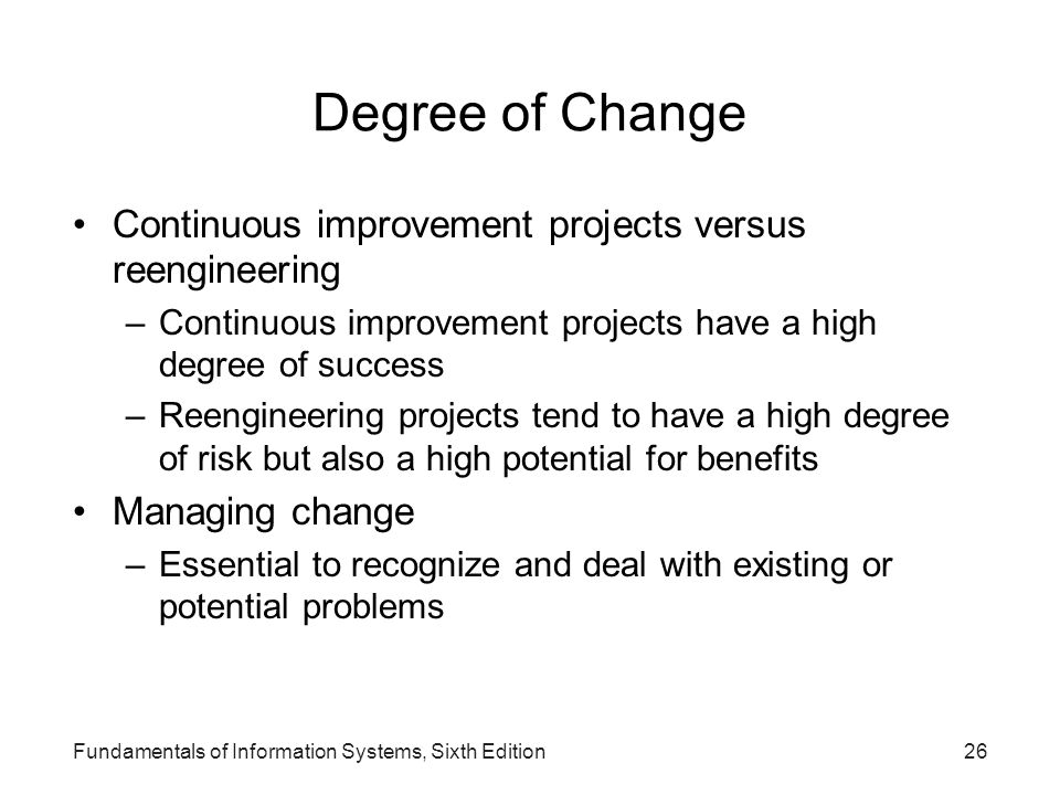 Degree of Change Continuous improvement projects versus reengineering