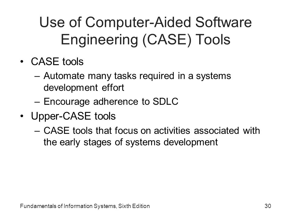 Use of Computer-Aided Software Engineering (CASE) Tools