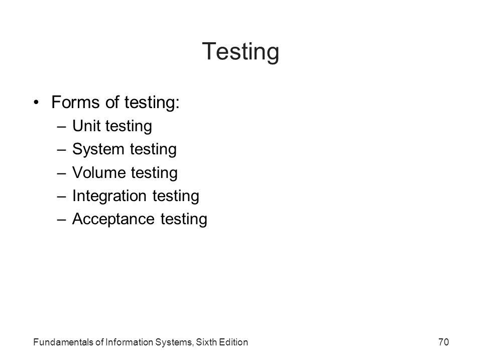 Testing Forms of testing: Unit testing System testing Volume testing