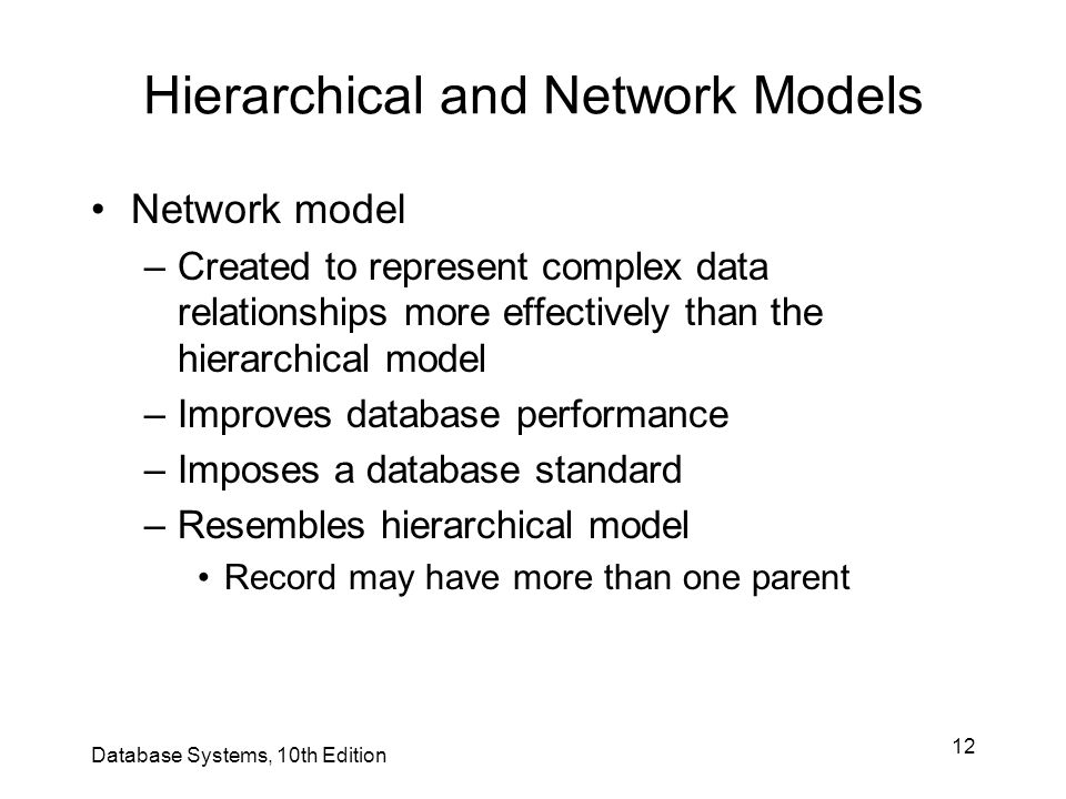 Hierarchical and Network Models