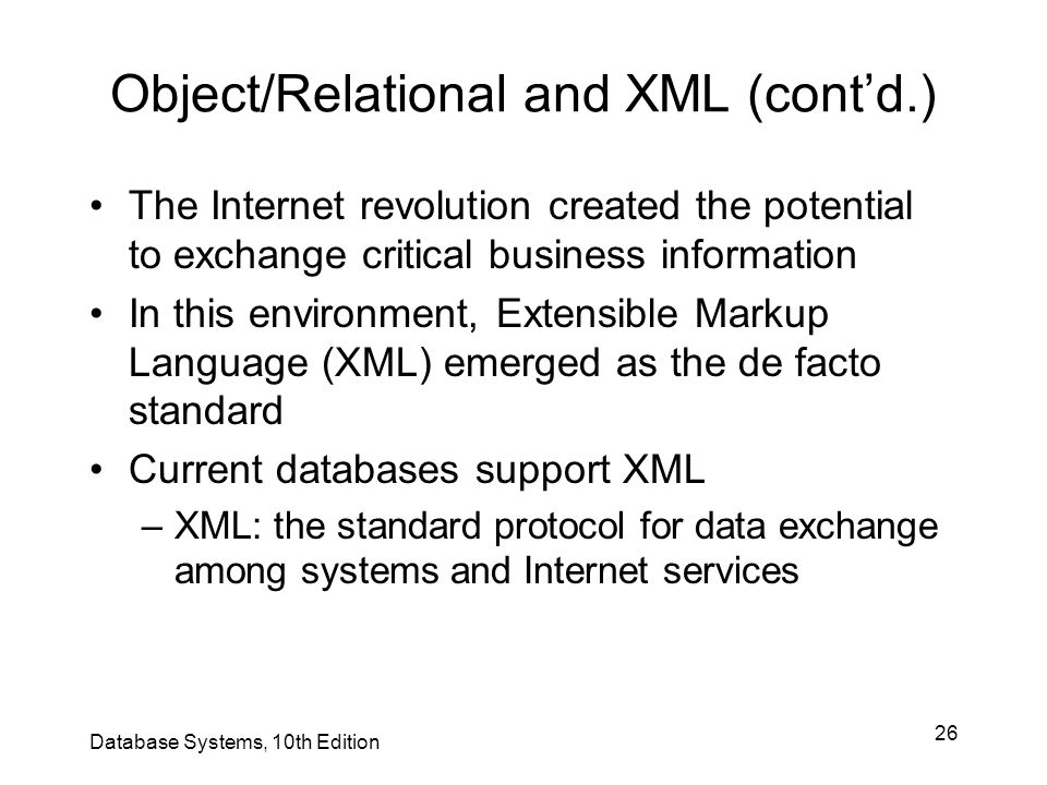 Object/Relational and XML (cont'd.)