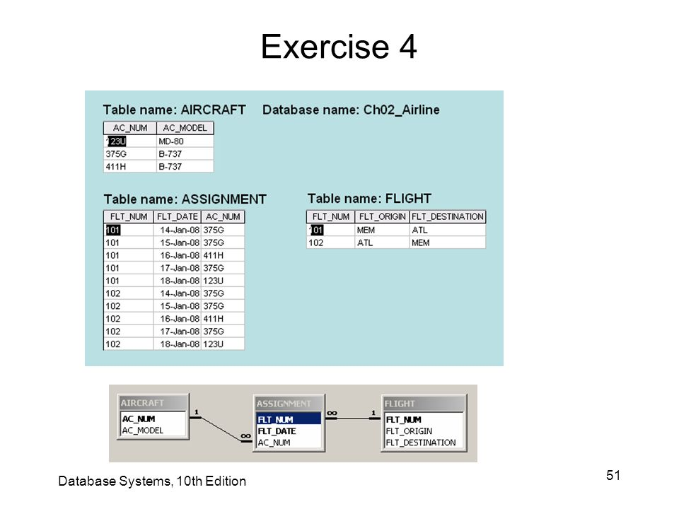 Exercise 4 Database Systems, 10th Edition