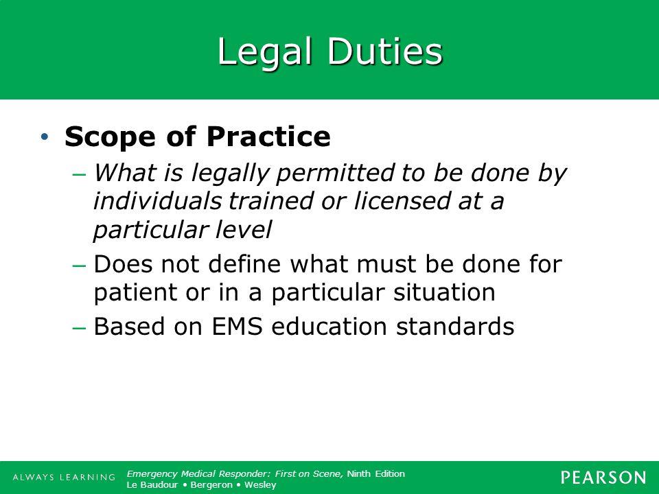 Legal Duties Scope of Practice