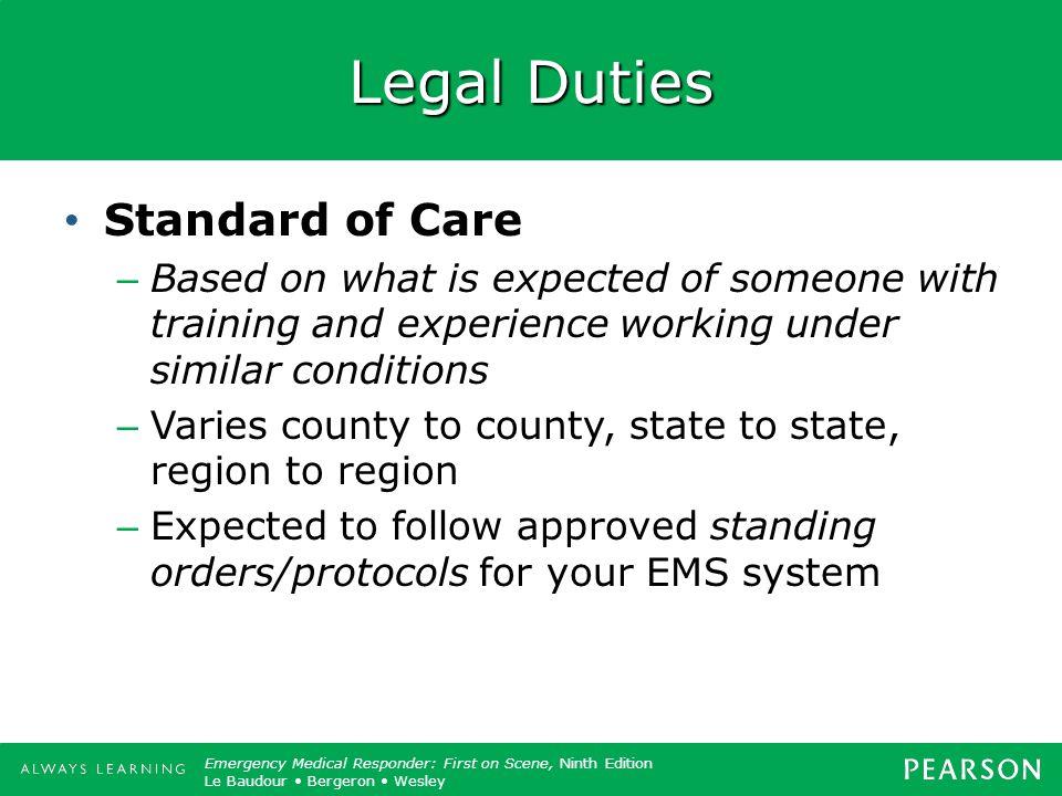 Legal Duties Standard of Care