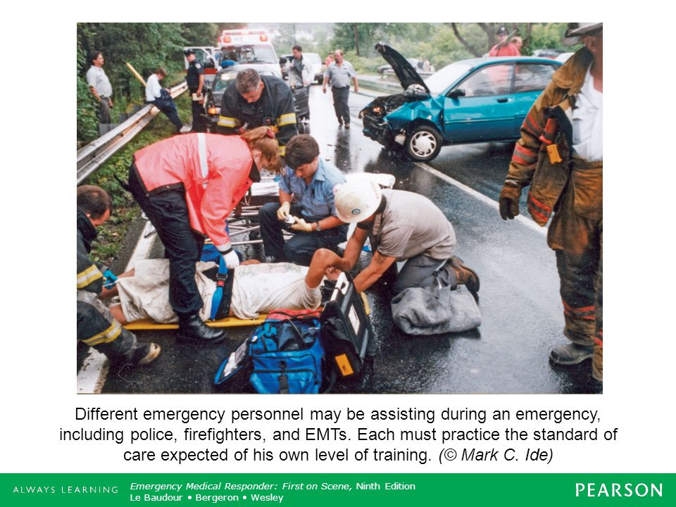 Different emergency personnel may be assisting during an emergency, including police, firefighters, and EMTs.
