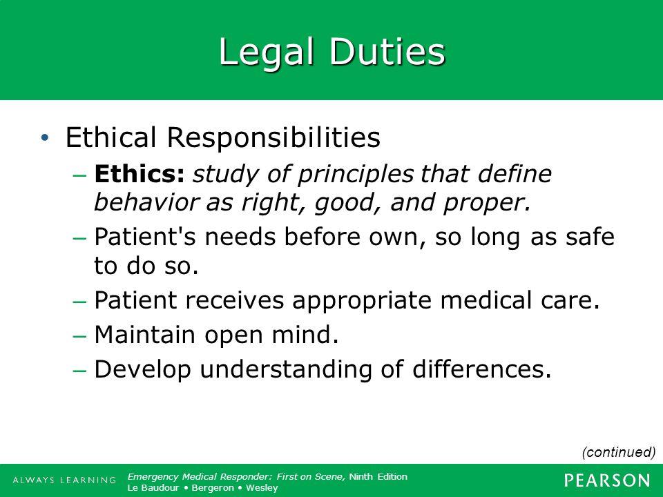 Legal Duties Ethical Responsibilities