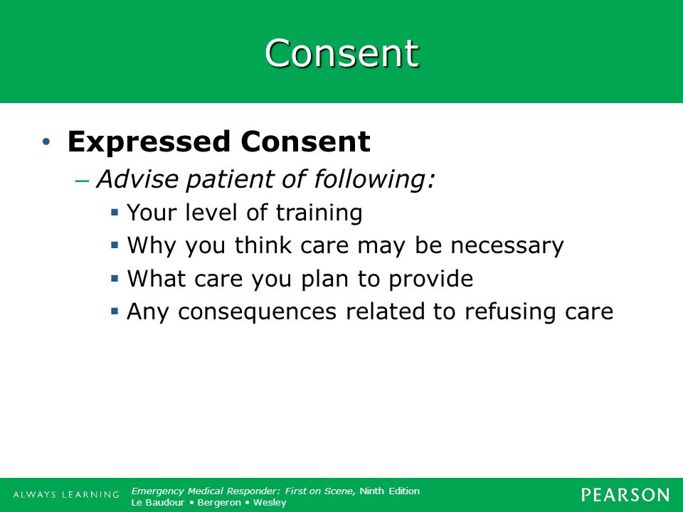 Consent Expressed Consent Advise patient of following: