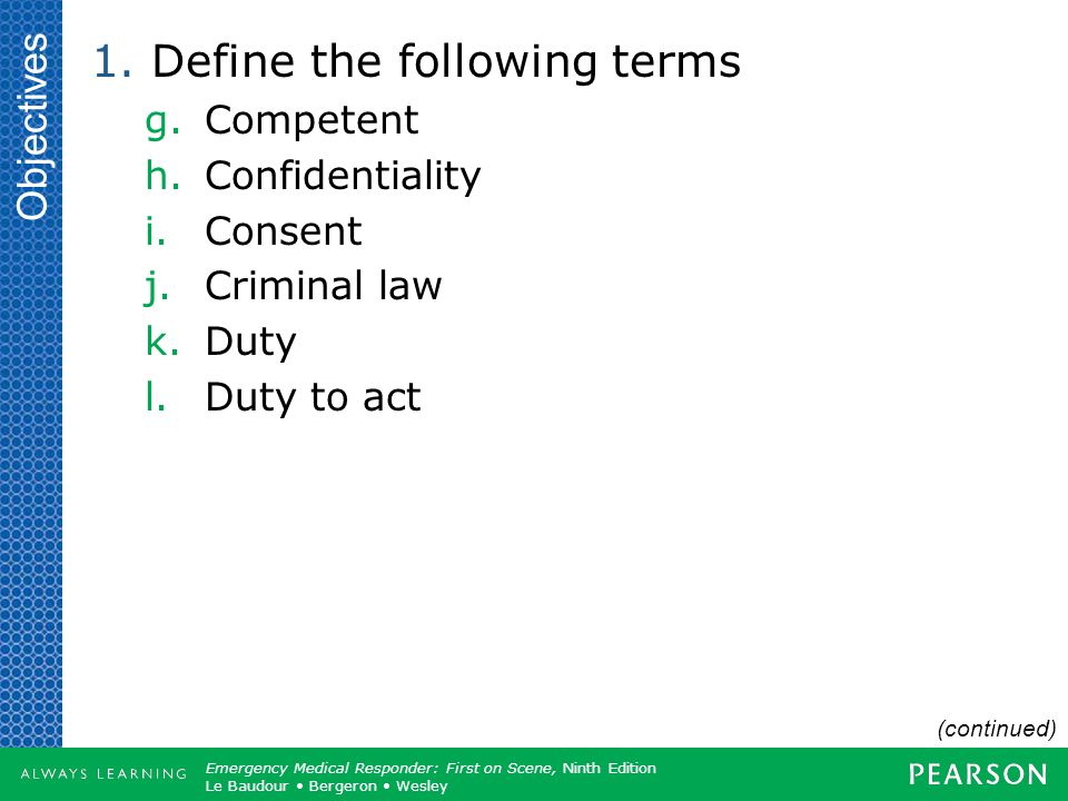 Define the following terms