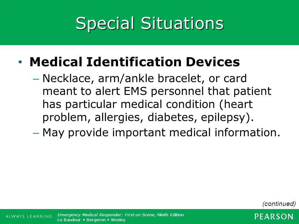 Special Situations Medical Identification Devices