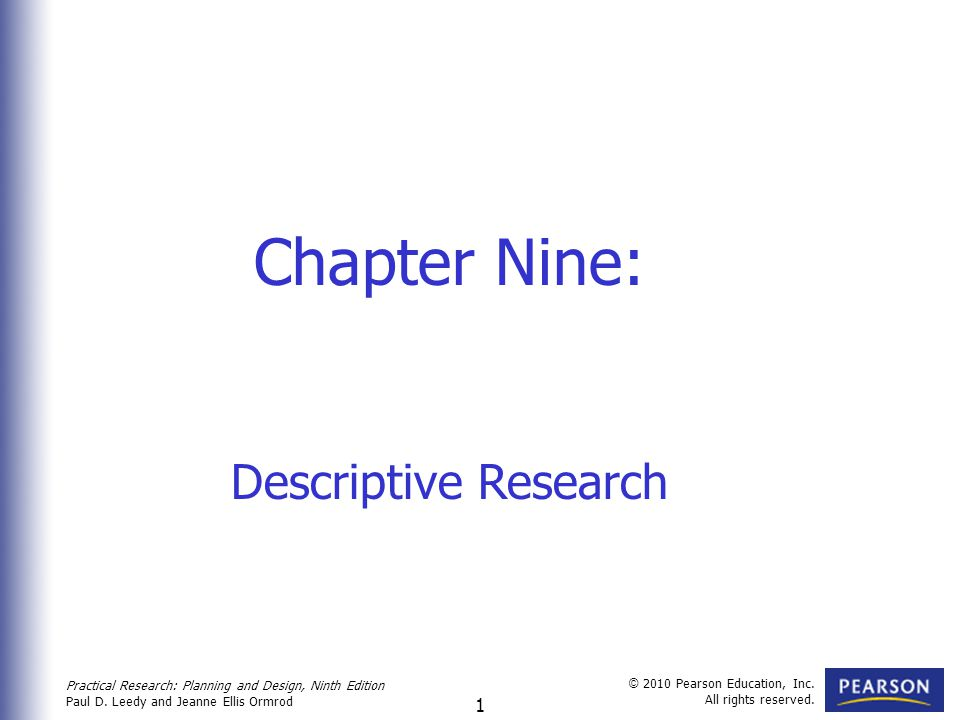 Chapter Nine: Descriptive Research