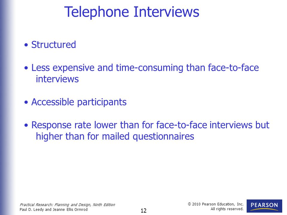 Telephone Interviews Structured
