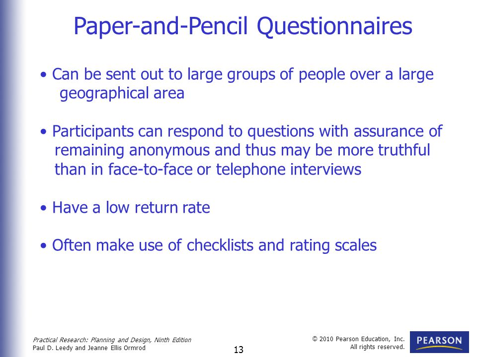 Paper-and-Pencil Questionnaires