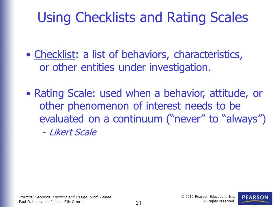 Using Checklists and Rating Scales