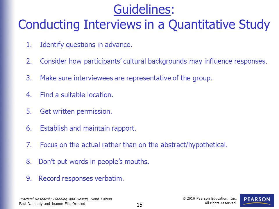 Conducting Interviews in a Quantitative Study