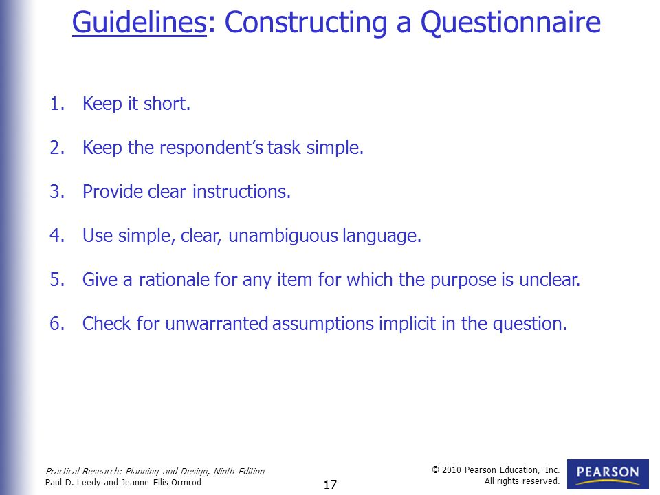 Guidelines: Constructing a Questionnaire