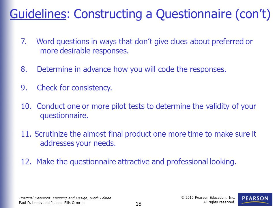 Guidelines: Constructing a Questionnaire (con't)