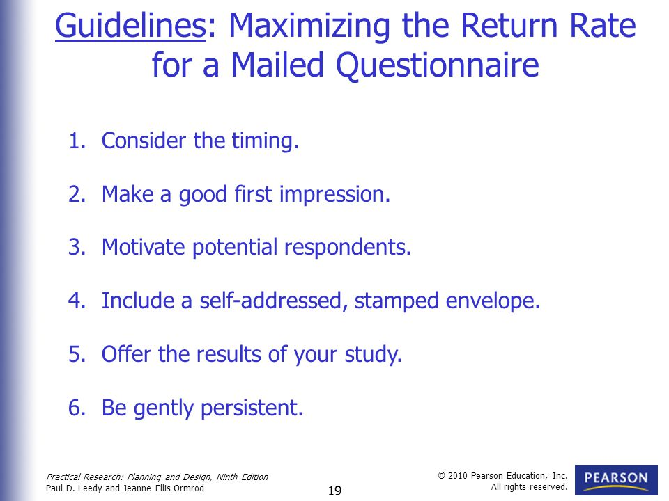 Guidelines: Maximizing the Return Rate for a Mailed Questionnaire