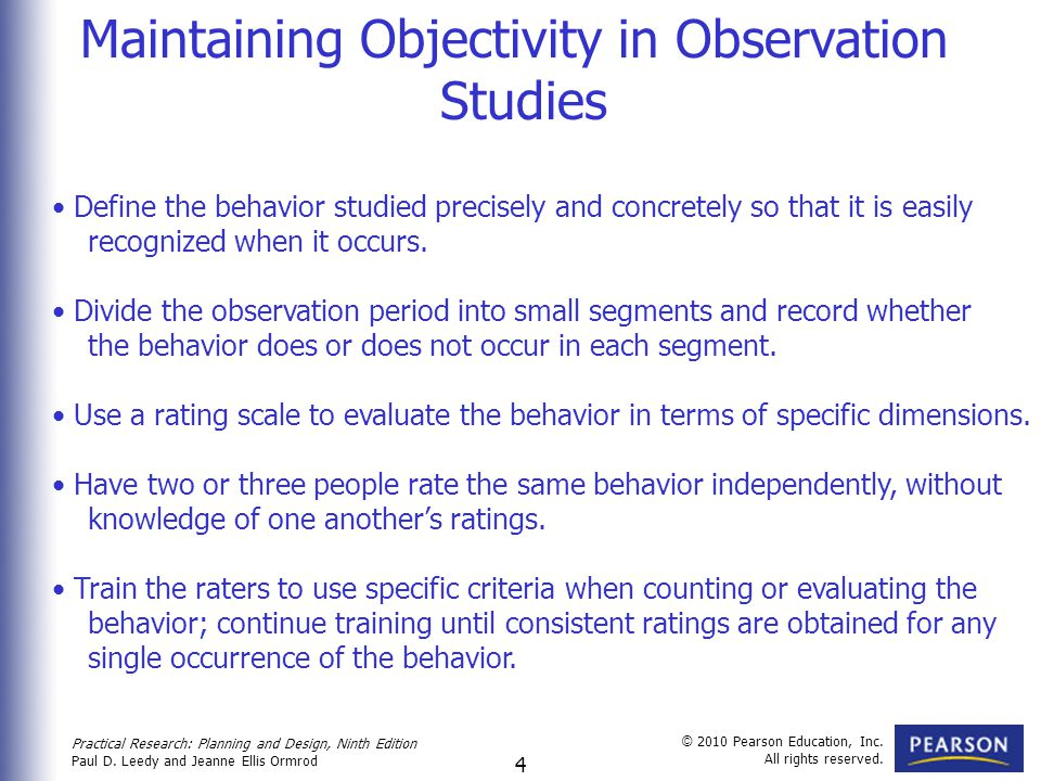 Maintaining Objectivity in Observation