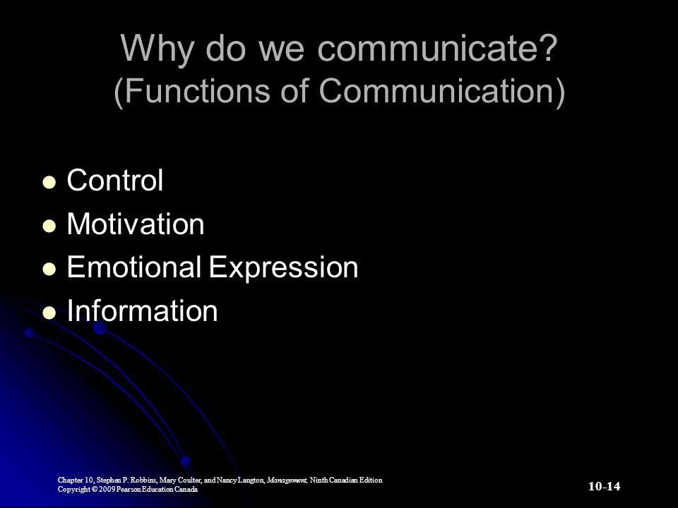 Why do we communicate (Functions of Communication)