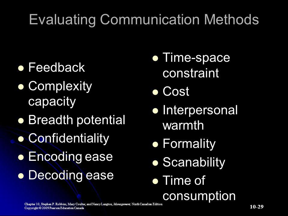 Evaluating Communication Methods