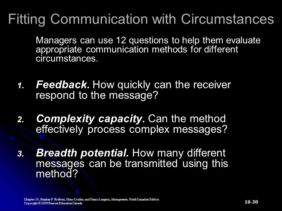 Fitting Communication with Circumstances