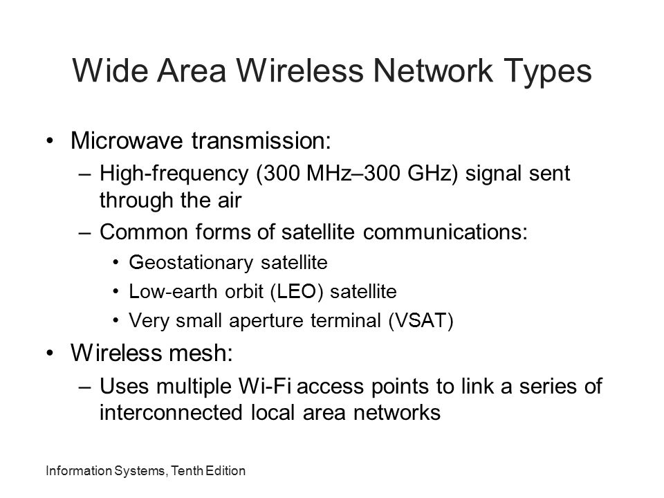 Wide Area Wireless Network Types