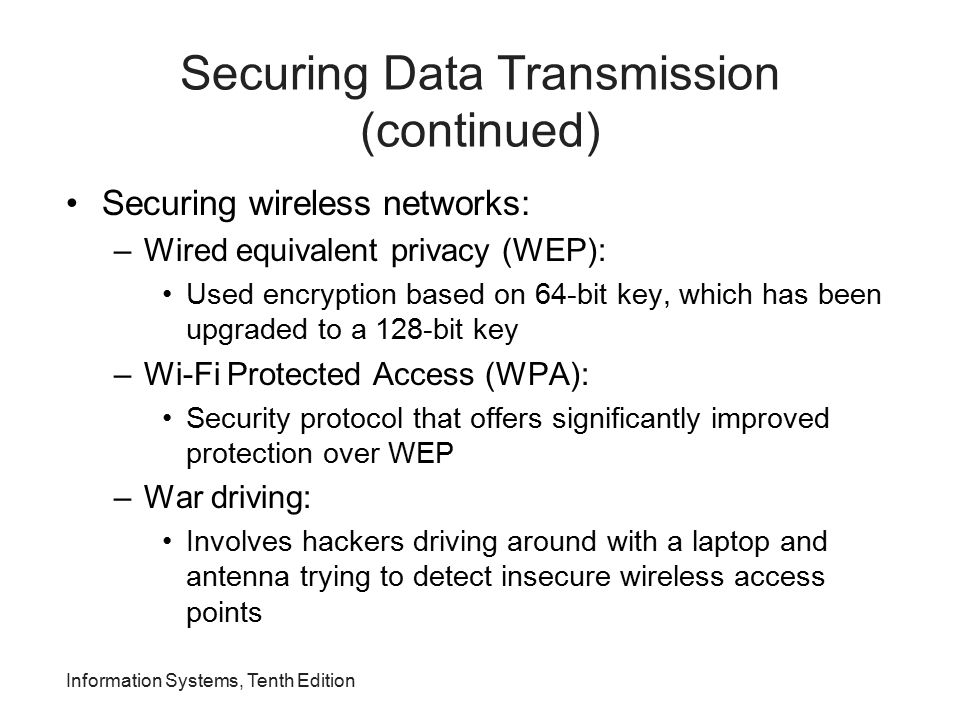Securing Data Transmission (continued)