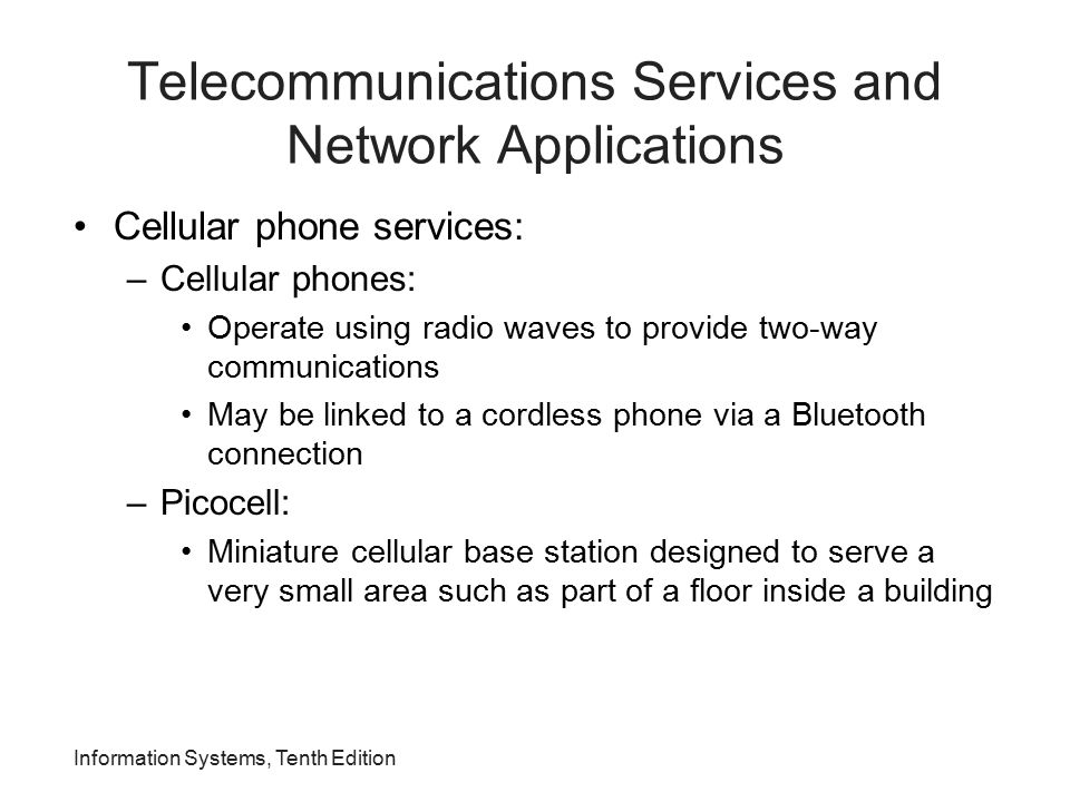 Telecommunications Services and Network Applications
