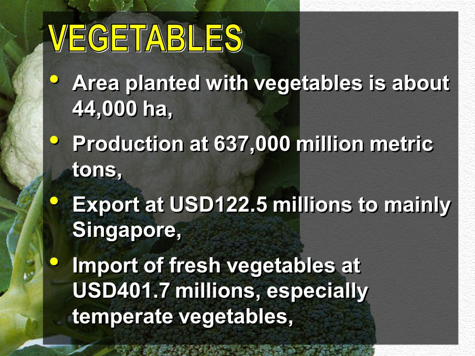 VEGETABLES Area planted with vegetables is about 44,000 ha,