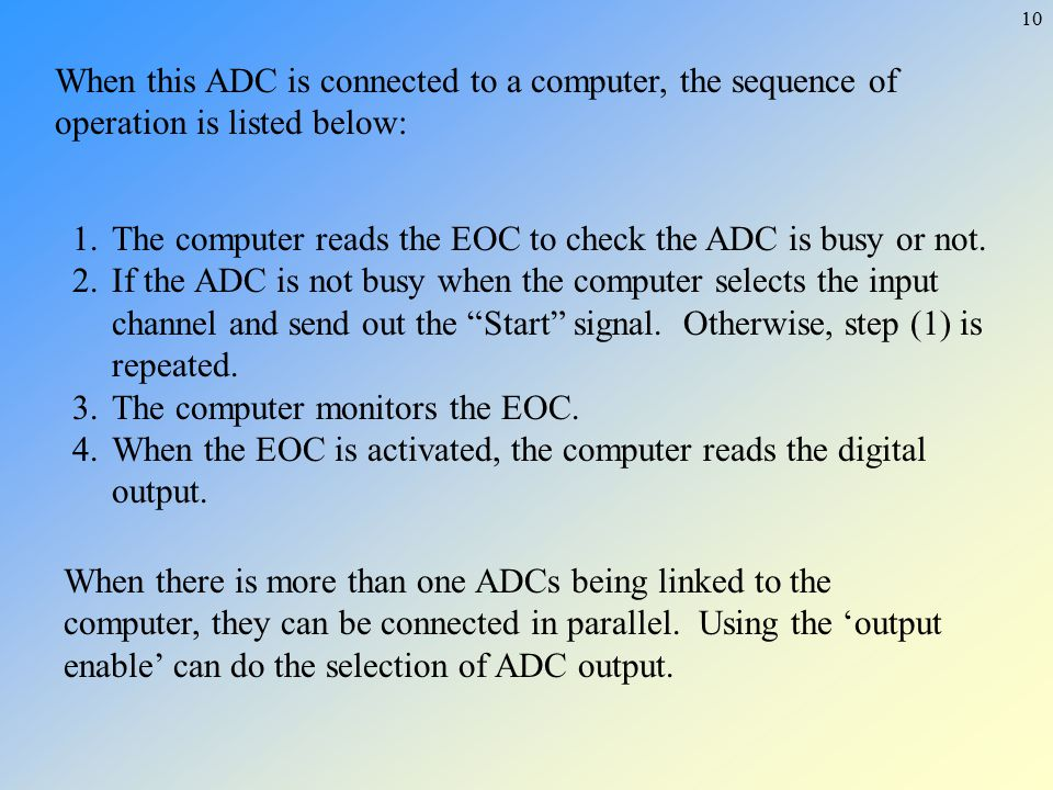 When this ADC is connected to a computer, the sequence of operation is listed below: