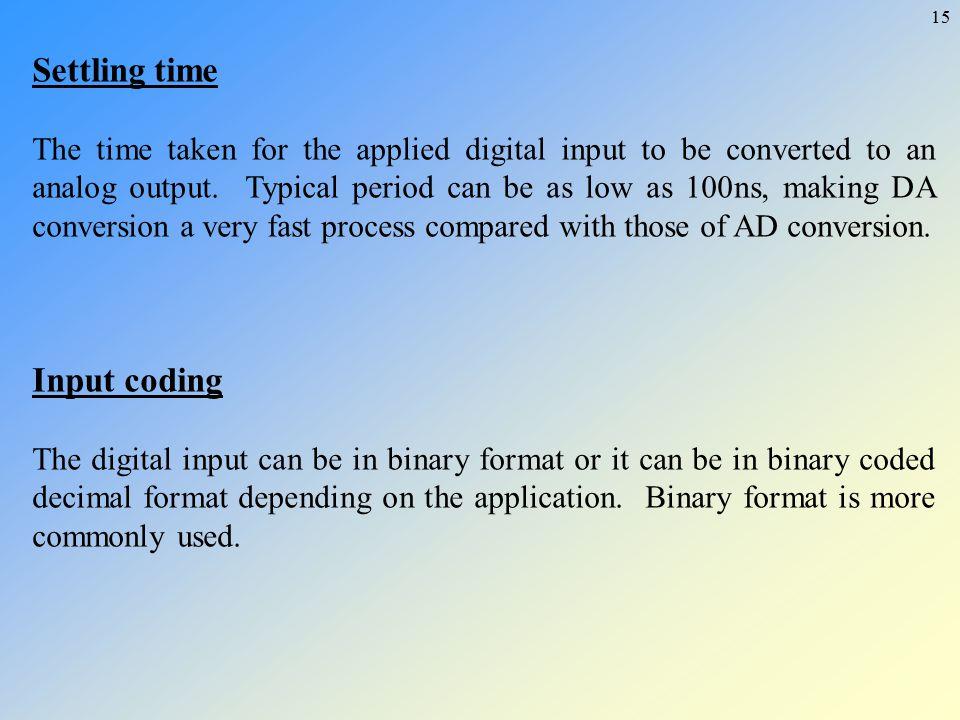 Settling time Input coding